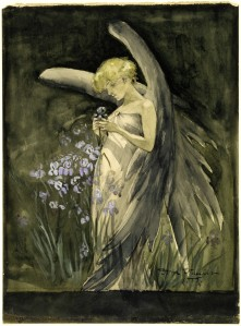 Fairy in Irises by Dora Wheeler